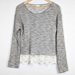 Altar'd State Heather Grey Sweater Lace Heart Hem